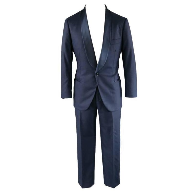 Brunello Cucinelli Navy Wool Blend Single Button Shawl Collar Tuxedo