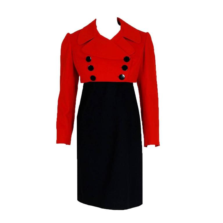 1957 Traina-Norell Red Black Wool Cropped Double-Breasted Jacket & Dress Suit