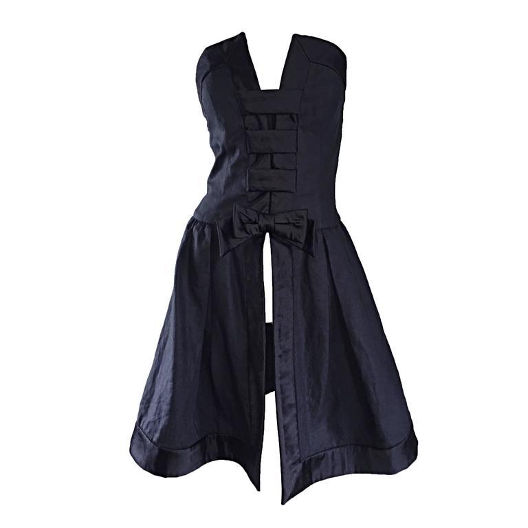 Vintage Rena Lange Black Silk Avant Garde Strapless Overdress Cut Out Bow Dress For Sale