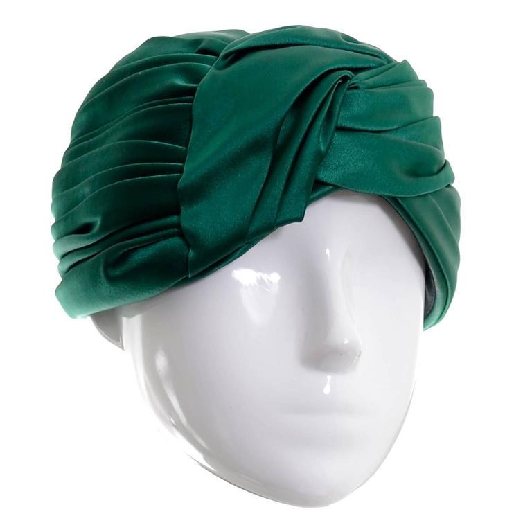 4938f146fd7 Vintage Christian Dior Hat Miss Dior Green Satin Turban style Chapeau 1960s  For Sale