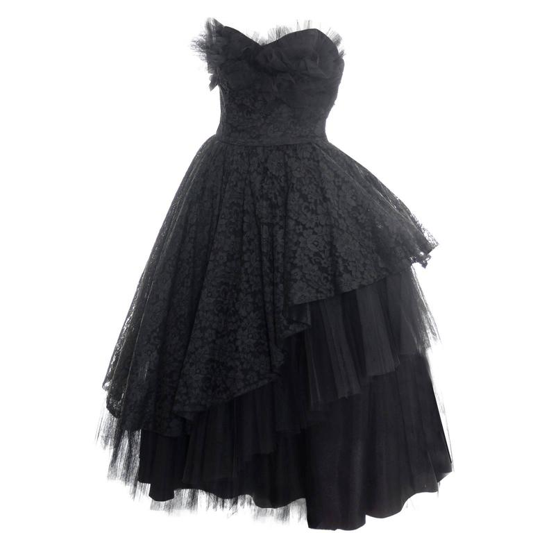 1950s Vintage Dress Emma Domb Black Lace Tulle Strapless Party Dress 1