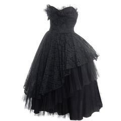 1950s Vintage Dress Emma Domb Black Lace Tulle Strapless Party Dress