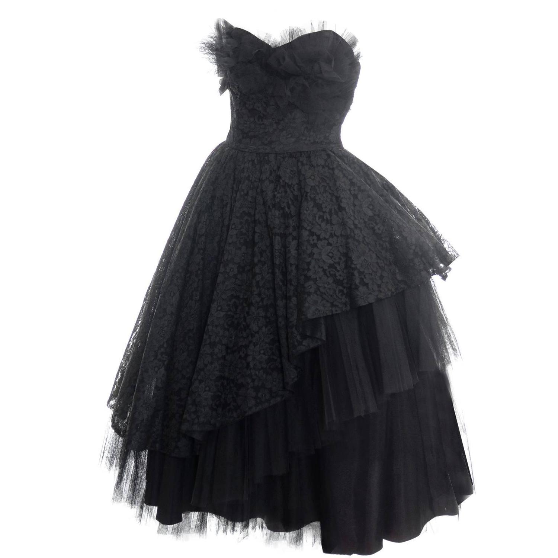 1950s vintage dress emma domb black lace tulle strapless