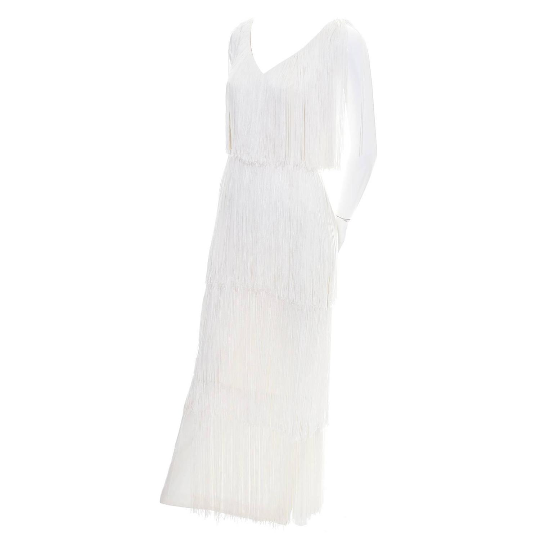 1970s vintage dress silk fringe white evening gown for Wedding dress shops in sacramento