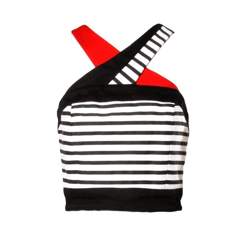 Lillie Rubin Vintage Striped Cropped Halter Top in Red, White and Black