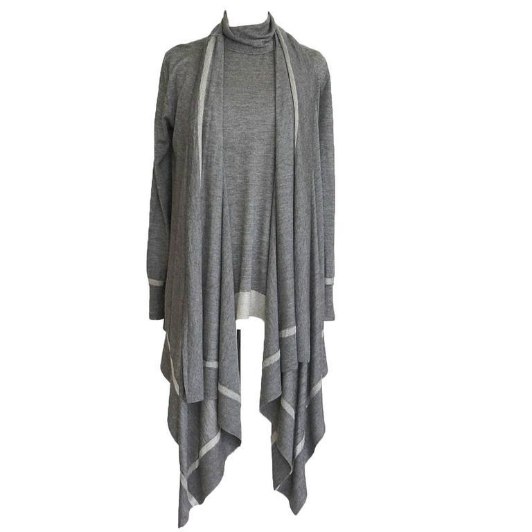 Donna Karan Twin Set Cashmere Silk Gray Metallic Very Light and Soft P / S   new