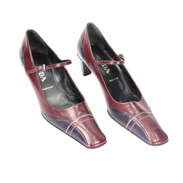 RARE Prada VERO CUOIO Bi-color Leather Pumps 1