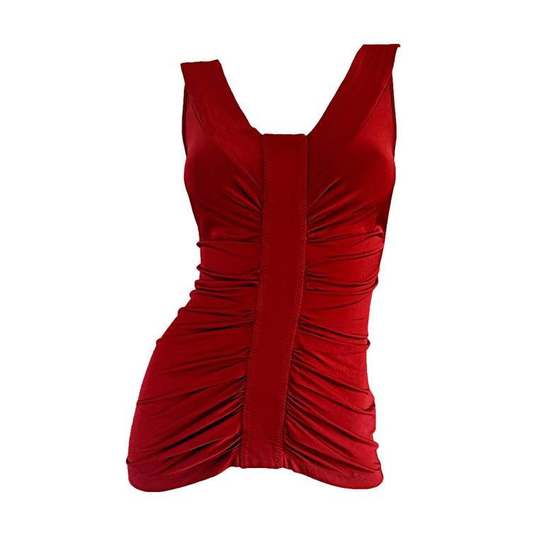 Beautiful John Galliano Crimson Red Silk Jersey Ruched Grecian Blouse / Top For Sale