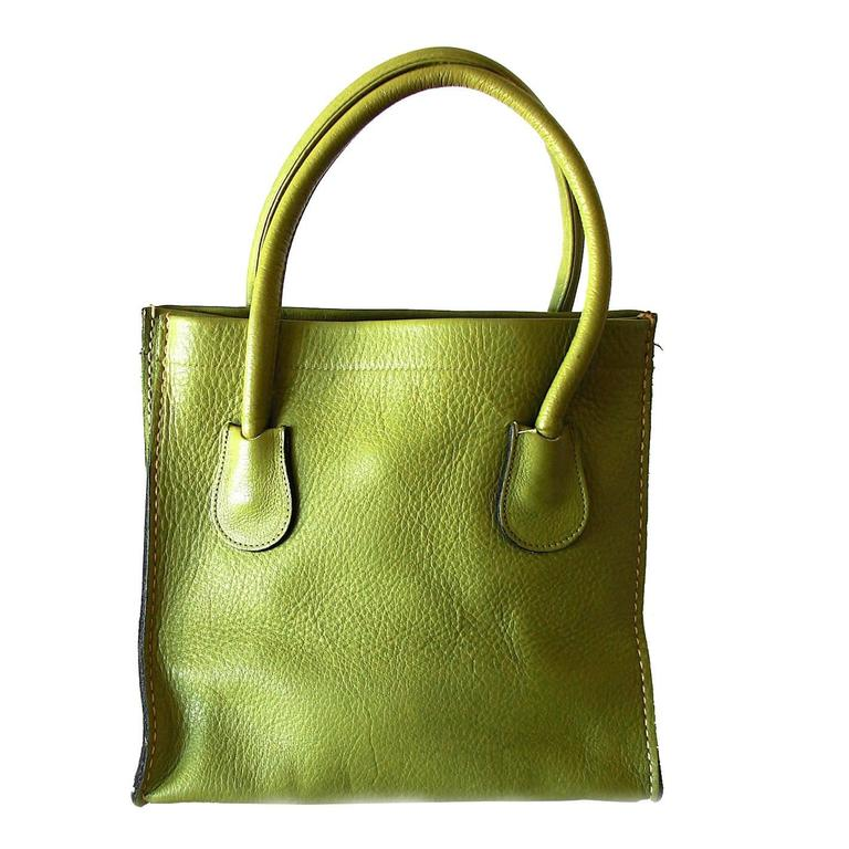 7329a256b3d9 Bonnie Cashin for Coach Mod Lime Leather Dinky Tote Bag 1960s NYC For Sale