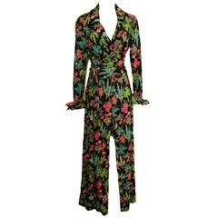70s Diane Von Furstenberg Blouse and Pants Set Floral Jersey Sz 12
