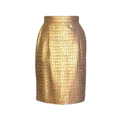 Escada by Margaretha Ley Gold Croc Embossed Leather Pencil Skirt, 1980s