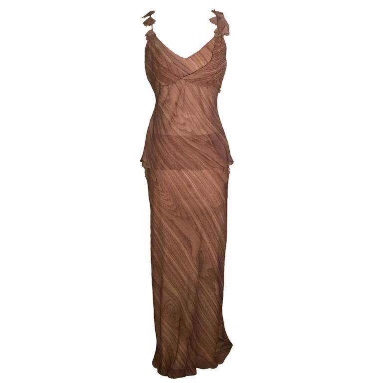 John Galliano Paris Tan Wood Grain Print Silk Maxi Skirt and Tank Gown
