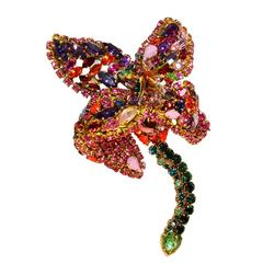 Massive Crystal Brooch by Hanna Bernhard Paris Lily Floral Haute Couture Rare