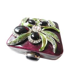 YVES Saint Laurent ✿*゚JEWELED 3D Orchid Rock Crystal Glass Cigarette Clutch Case