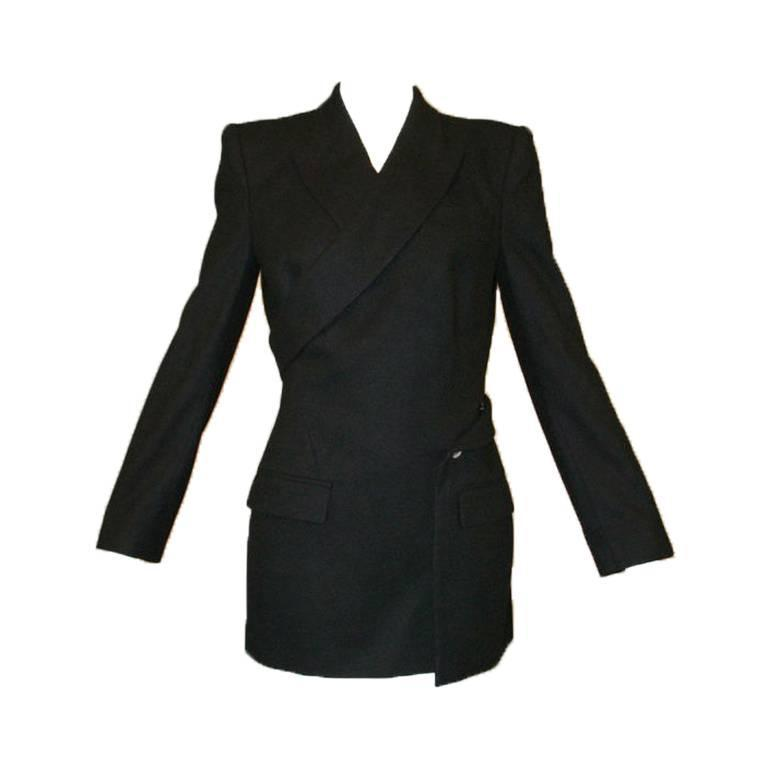 """Alexander McQueen """"What a Merry Go Round"""" Black Wool Wrap Jacket Coat, A/W 2001  For Sale"""