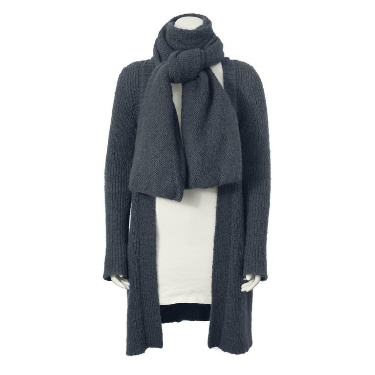 1417074d746 1970's Sonia Rykiel Slate Cardigan with Scarf For Sale at 1stdibs