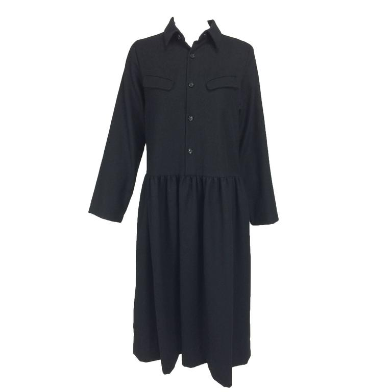 Tricot Comme des Garcons black LS wool dress with gathered skirt