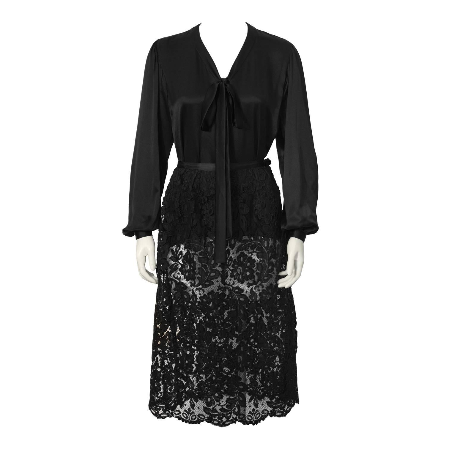 1970's Yves Saint Laurent YSL Black Satin Tie Top and Lace Skirt
