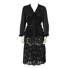 1970's Yves Saint Laurent Black Satin Tie Top and Lace Skirt
