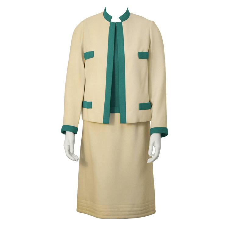 1960's Mary Korolnek Cream and Green Dress Set
