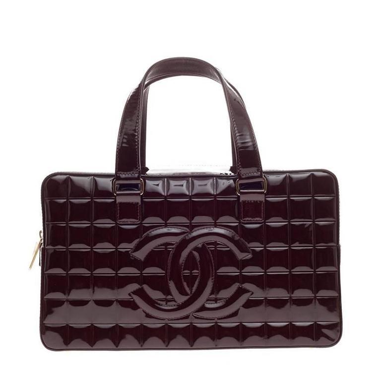 bcf35f5e8257 Chanel Chocolate Bar CC Bowler Patent Large at 1stdibs