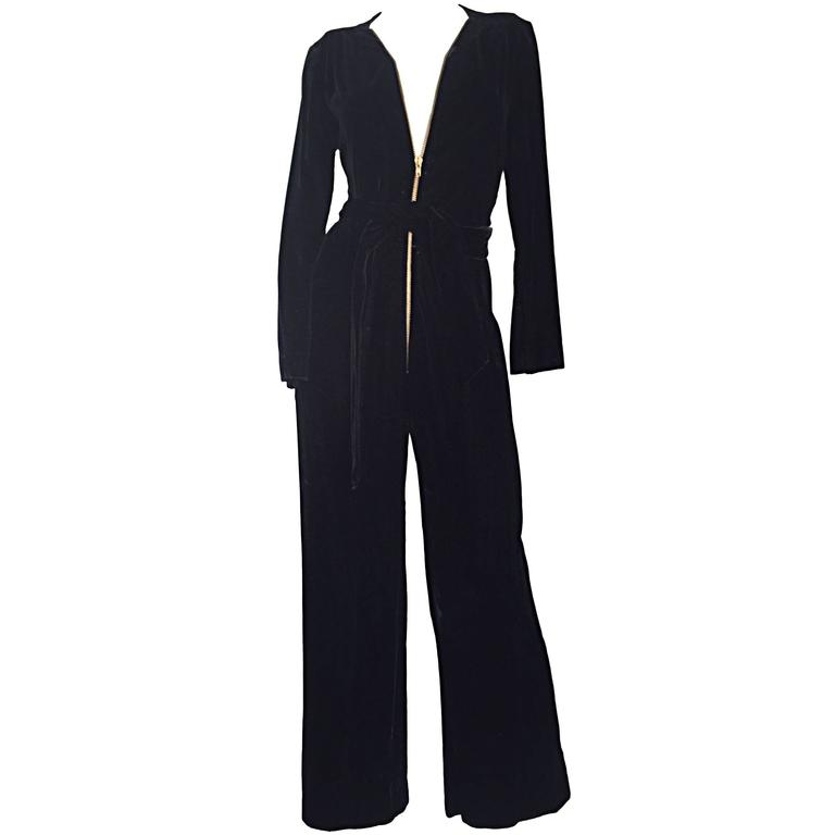 Amazing 1970s Mary Quant Black Velvet ' Zipper ' Bellbottom 70s Jumpsuit Onesie 1