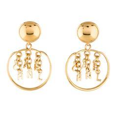 Chanel Gold Logo Charm Chain Door knocker Round Hoop Dangle DropEarrings