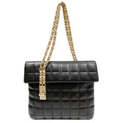 Chanel Black Leather Square Quilted Shoulder Bag