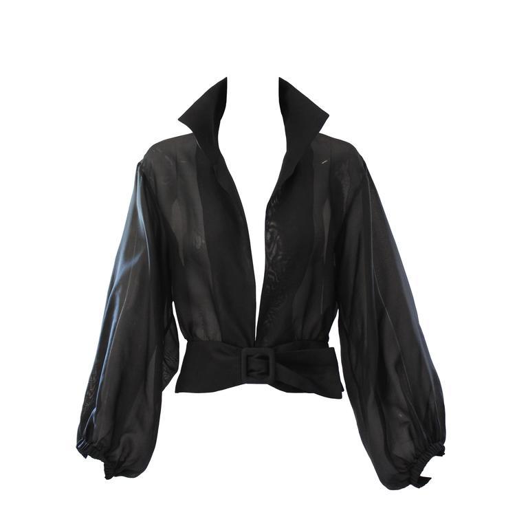 Yves Saint Laurent Rive Gauche Black Sheer Blouse Jacket  1