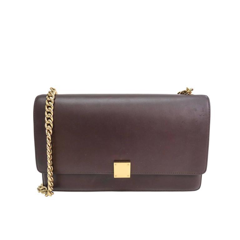 fa1bfbb971 Celine Burgundy Calfskin Leather Box Gold Chain Hardware Flap Shoulder Bag  For Sale