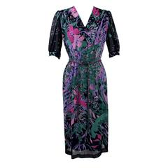 1970s Vintage Leonard Paris Floral Midi Dress and Belt