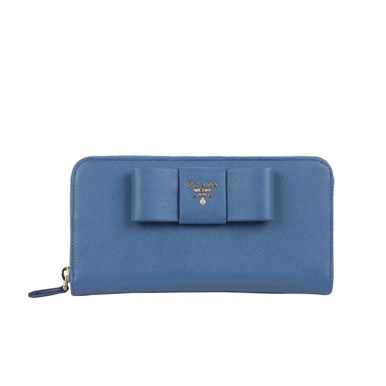 e7aa31760456 ... sale prada light blue leather saffiano fiocco ribbon large wallet purse  1m0506 box for sale abbf6