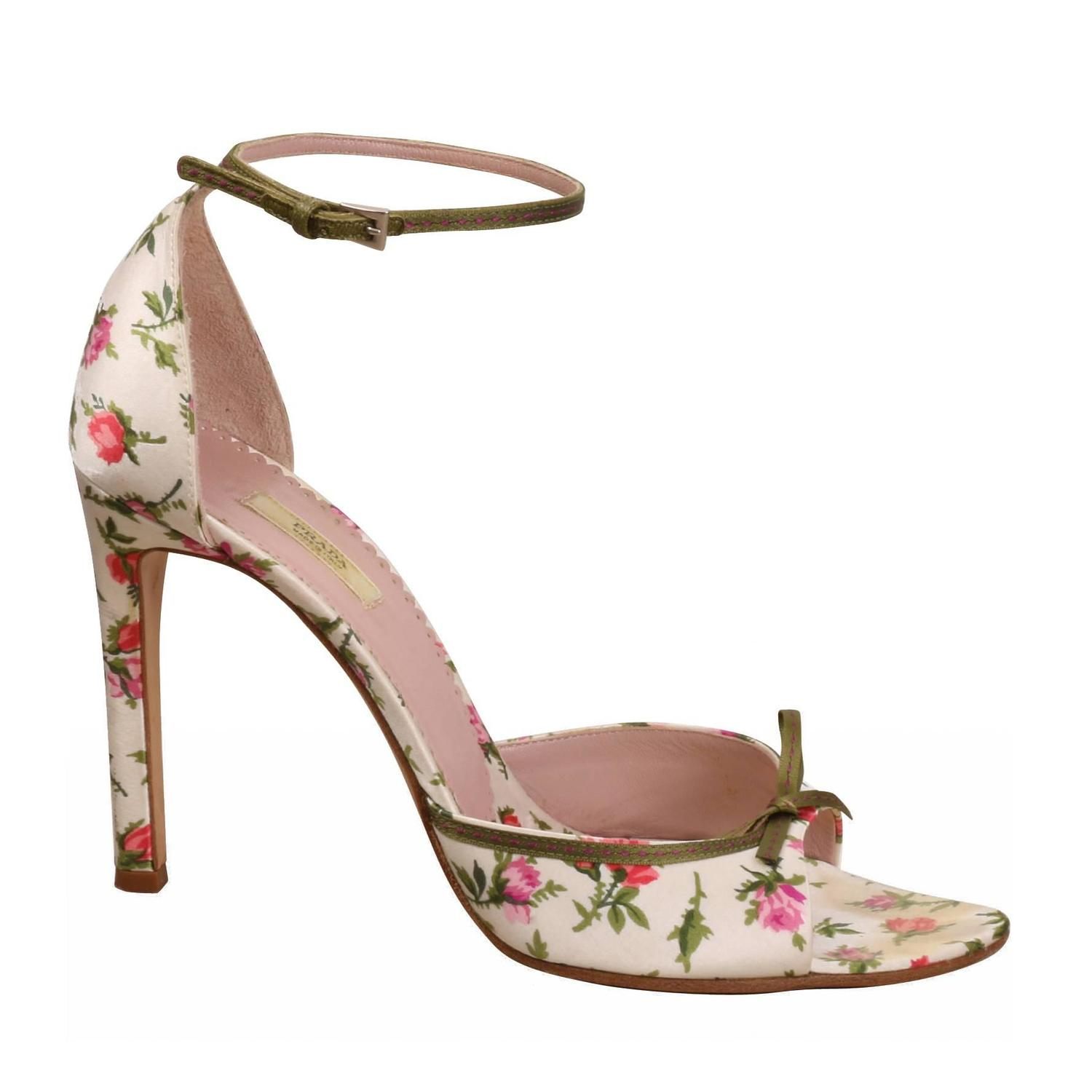 prada ivory satin with pink and roses high heel