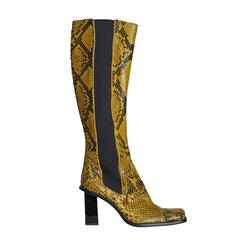 Dolce & Gabbana Black and Yellow Snake Skin Square Boots