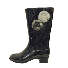 New Chanel Black Cap Toe Wellington Boots with Two Camellia Shaft