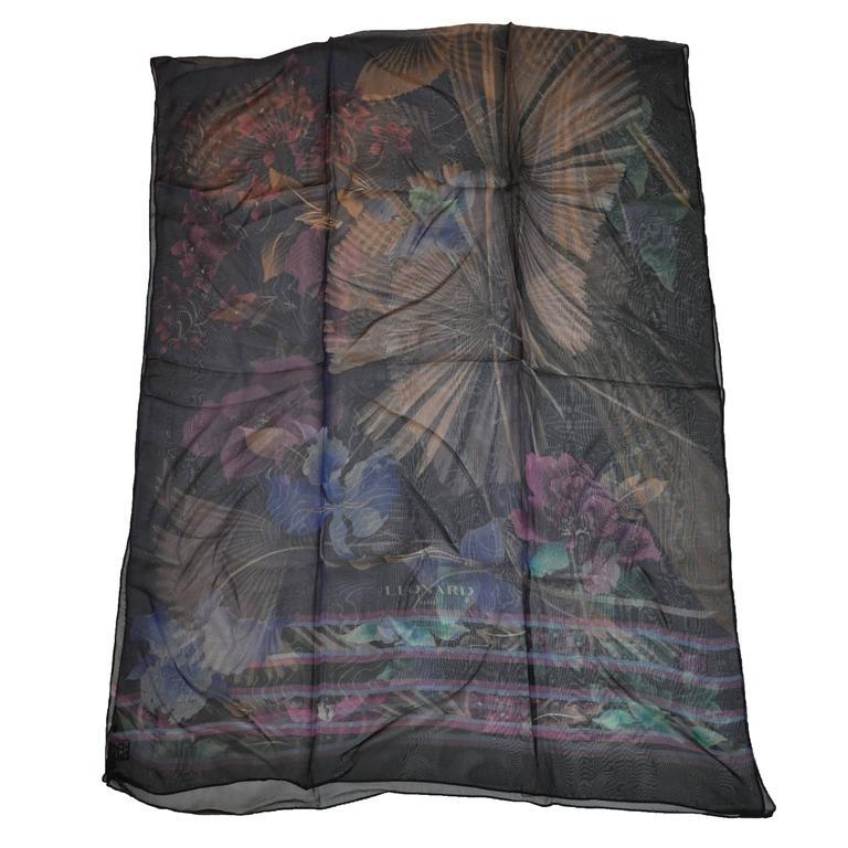 Leonard Huge Rectangle Multi-Floral Silk Chiffon Scarf
