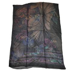 Leonard Huge Rectangle Multi-Floral Silk Chiffon Scarf