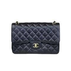 Chanel Jumbo Black Caviar GHW Double Flap No. 19 Handbag in Box
