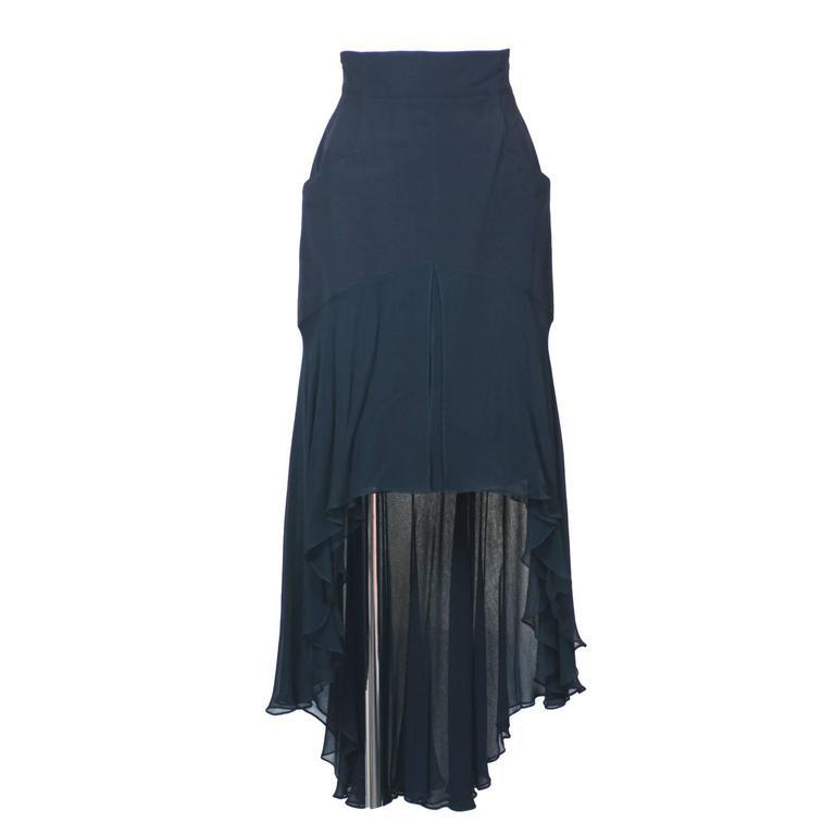 Karl Lagerfeld Dipping Hem Chiffon Skirt