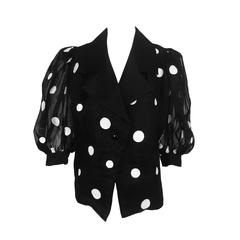 Givenchy black & white dot applique silk organdy blouse