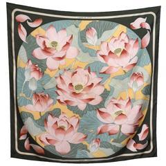 "Hermes Silk Twill Scarf ""Fleurs de Lotus"" Designed by Christiane Vauzelles"