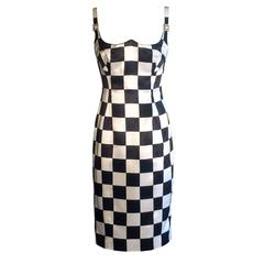 Gianni Versace Couture 1990s Black and White Checked Wiggle Dress
