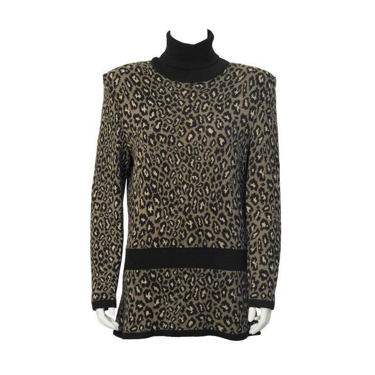 1980's Valentino Leopard Turtleneck Sweater