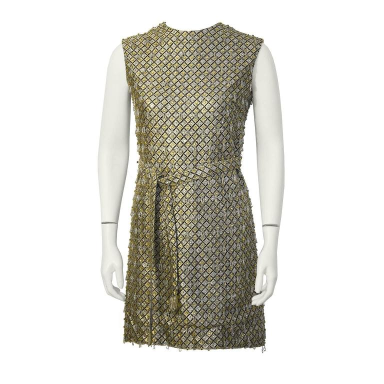 1960's Gold and Silver Beaded Mini Dress with Belt