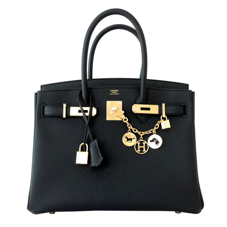 Hermes Black 30cm Birkin Togo Gold Hardware GHW Bag Tote Most Requested 1