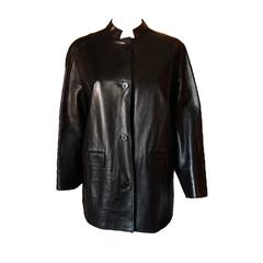Chado Ralph Rucci Hand Stitched Lined Black Leather Shirt/Jacket Large