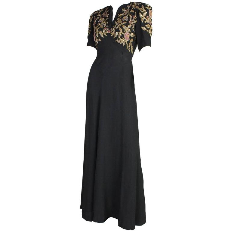 1940's Crepe Gown with Beaded Bodice For Sale