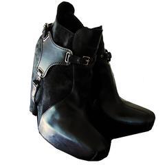 Balenciaga Black Leather & Suede Harness Platform Booties 2006 Sz 38.5