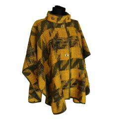 Bonnie Cashin Sills Mustard + Olive Boucle Houndstooth Cape Leather Trim 1960s