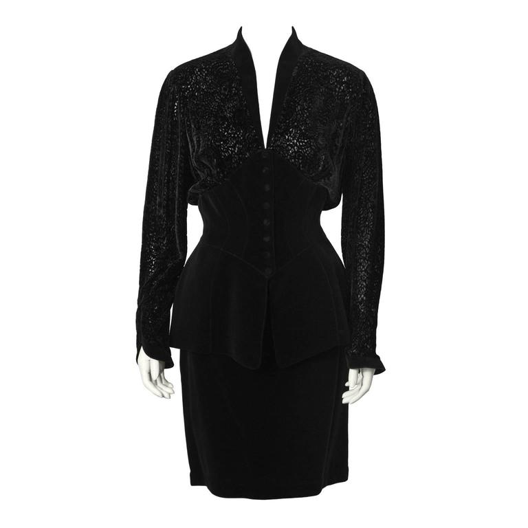 1980's Thierry Mugler Black Velvet Skirt Suit